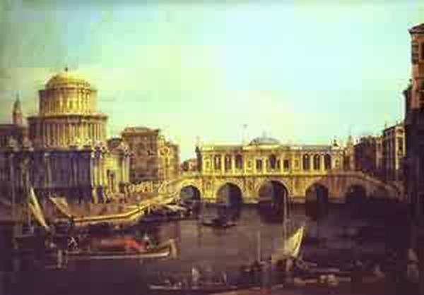 Capriccio the grandanal with an imaginary rialto bridge and